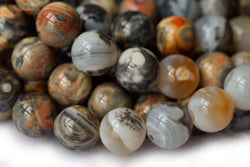 "15"" 10mm Dream grey orange Fire agate round beads, with special stripe"