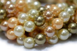 "15.5"" 8mm/10mm Mix luster Dark green yellow white Shell pearl round beads,shell core pearl,TYF"
