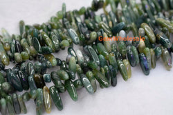 Moss agate tooth chips 15~20mm