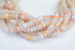"15.5"" 5x8mm natural light pink aventurine roundel faceted beads,light yellow color gemstone rondelle beads - Gemstone jewelry beads supplier"