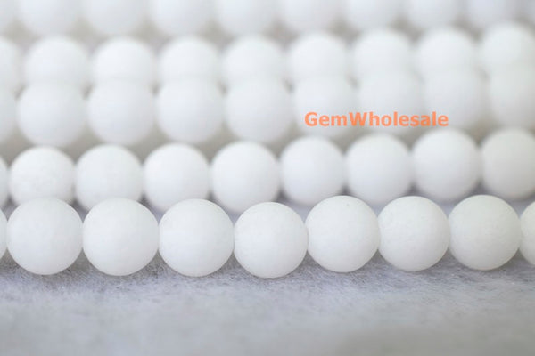 "15.25"" 6mm/8mm/10mm/12mm matte white dyed jade Round beads gemstone - Gemstone jewelry beads supplier"