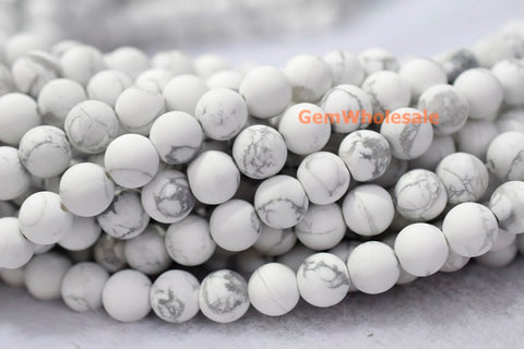 6mm Matte natural white howlite round beads