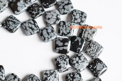 "15.5"" 16mm Snowflake obsidian Diamond beads, Natural gemstone square - Gemstone jewelry beads supplier"