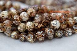 "14.5"" Brown Bulk tibetan Dzi beads 8mm/10mm/12mm round beads, Brown Dzi agate with eye - Gemstone jewelry beads supplier"