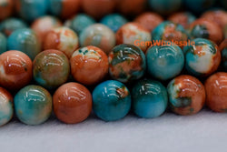 8mm/10mm Dyed orange blue rain flower stone round beads