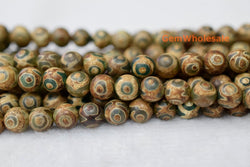 "14.5"" Antique Green color Bulk tibetan Dzi beads 8mm/10mm/12mm round beads - Gemstone jewelry beads supplier"