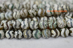 "14.5"" Antique Green color Bulk tibetan Dzi beads 10mm round beads, Antique Green Dzi agate - Gemstone jewelry beads supplier"
