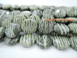 "15.5"" 16mm Natural green zebra jasper coin faceted,green silver line jasper coin - Gemstone jewelry beads supplier"