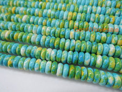 "15.5"" Dyed 4x6mm roundel Blue Green rain flower stone beads - GemWholesales"