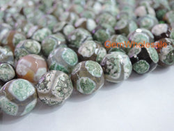 "14.5"" Green color Bulk tibetan Dzi beads 8mm/10mm/12mm/14mm round beads, Green Dzi agate - Gemstone jewelry beads supplier"
