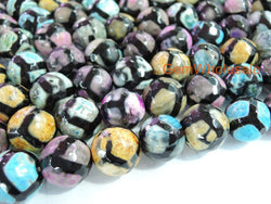"14.5"" Multi color Bulk tibetan Dzi agate 8mm/10mm/12mm round beads - Gemstone jewelry beads supplier"