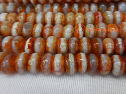 Red color Bulk tibetan Dzi beads 4x8mm