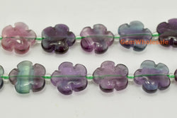 "15.5"" 15mm/20mm Natural rainbow fluorite flower, rainbow color gemstone flower - Gemstone jewelry beads supplier"