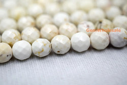 "15.5"" 4mm/6mm Cream White howlite round faceted beads, White beige gemstone,Ivory color howlite - Gemstone jewelry beads supplier"