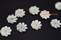 White MOP - Flower- beads supplier