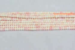 "15"" 4x6mm Natural Blush Pink Queen Conch shell rondelle Beads - Gemstone jewelry beads supplier"