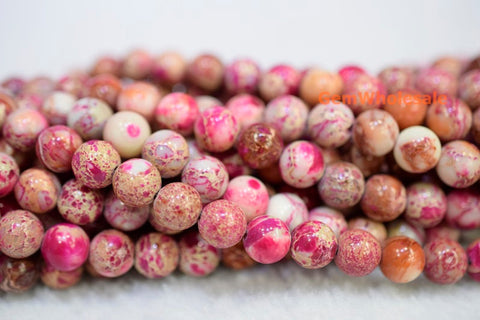 Purple Red cream emperor jasper round beads 8mm/10mm