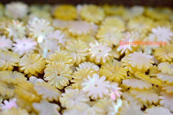 Yellow MOP - Flower- beads supplier