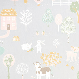 My Farm Wallpaper Soft Grey by Majvillan - minifili