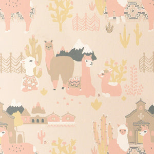 Lama Village Wallpaper Light Sunny Pink by Majvillan - minifili