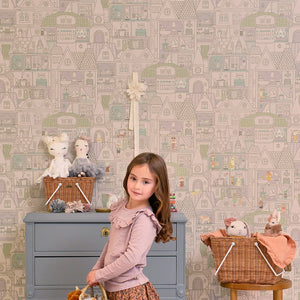 Dollhouse Wallpaper Soft Lilac by Majvillan - minifili