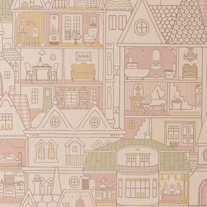 Dollhouse Wallpaper Sunny Pink by Majvillan - minifili