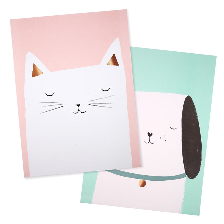Cat & Dog Prints (set of 2)