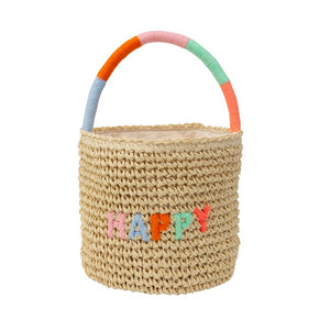 Happy Woven Straw Bag by Meri Meri - minifili