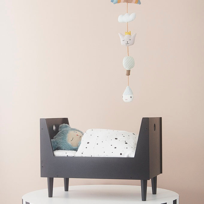 Retro Doll Bed Dark Grey by OYOY Mini - minifili
