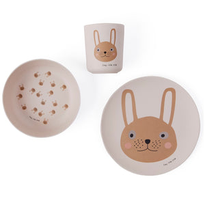 Rabbit Bamboo Tableware Set by OYOY Mini - minifili