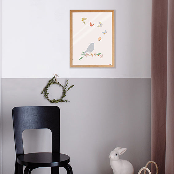 Bird and Butterflies Poster by MIMI'lou - minifili