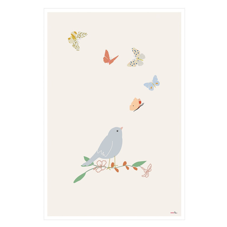 Bird and Butterflies Poster