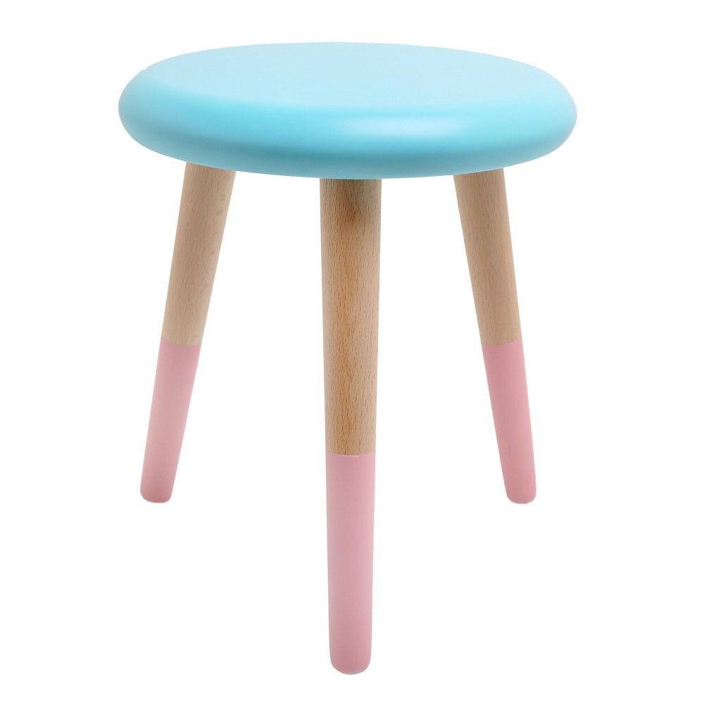 Rose in April - Alice Stool Aqua Blue Coral Pink