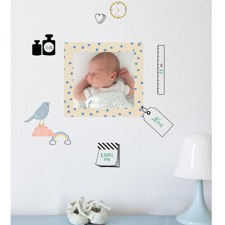 Just a Touch - Birth Record Wall Sticker by MIMI'lou - minifili