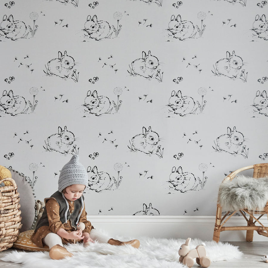 Little Bunny Wallpaper Grey by Bear & Beau - minifili