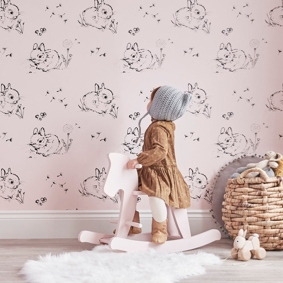 Little Bunny Wallpaper Pink by Bear & Beau - minifili