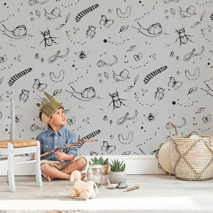 Mini Beasts Wallpaper Grey by Bear & Beau - minifili