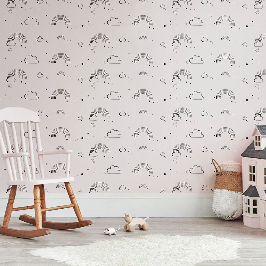 Rainbow Love Wallpaper Pink by Bear & Beau - minifili