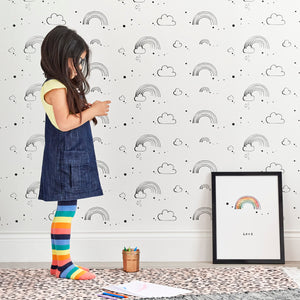 Rainbow Love Wallpaper White by Bear & Beau - minifili