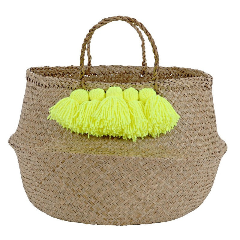 Neon Yellow Tassel Basket by Meri Meri - minifili