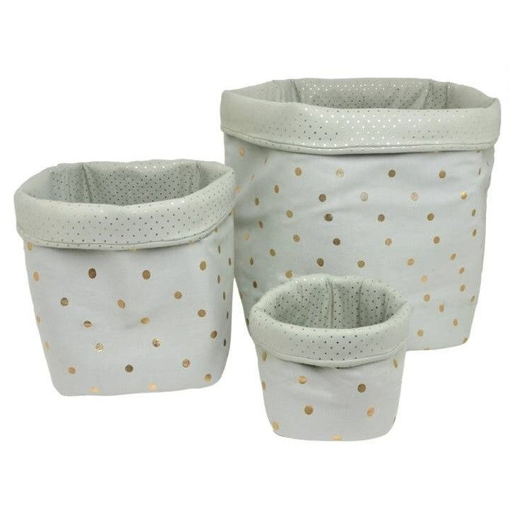 Confetti Baskets Greenish Grey/Gold