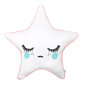 Sleepy Dolly Star Cushion Coral Pink Piping