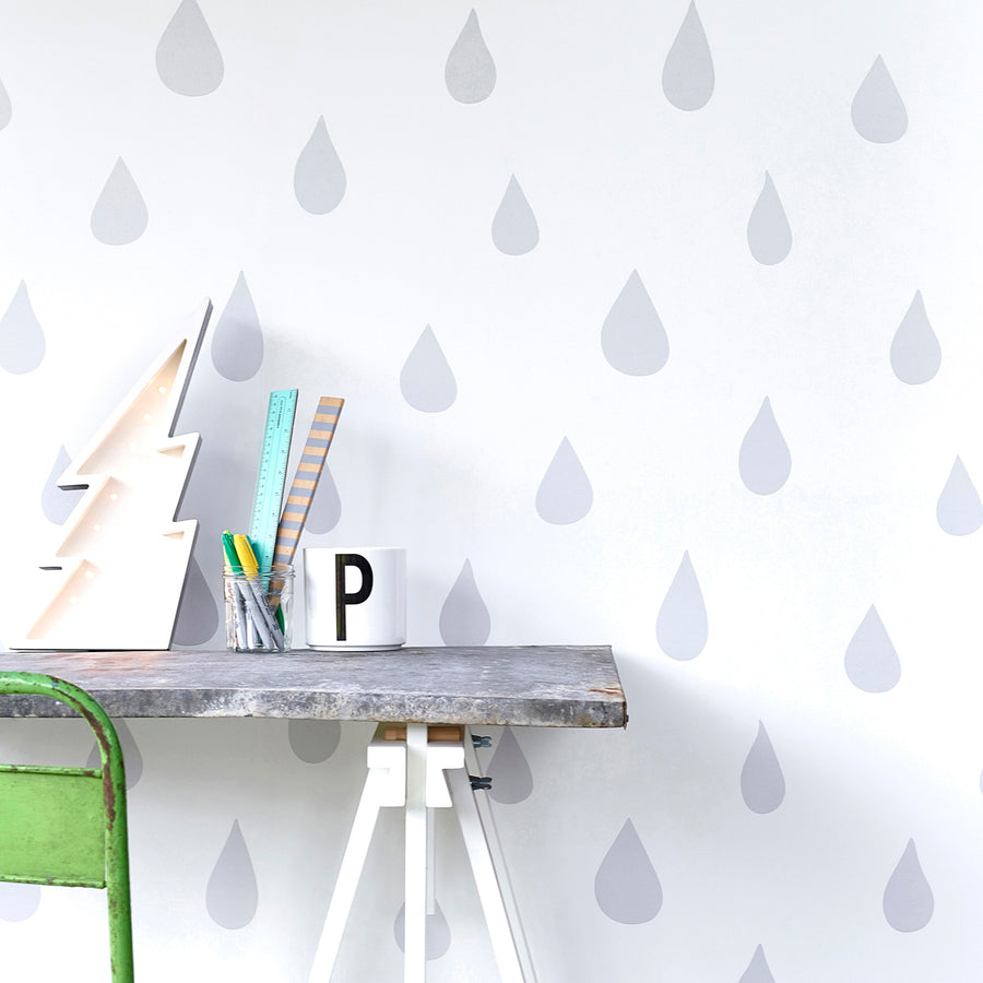 Raindrops Wallpaper Silver by Hibou Home - minifili