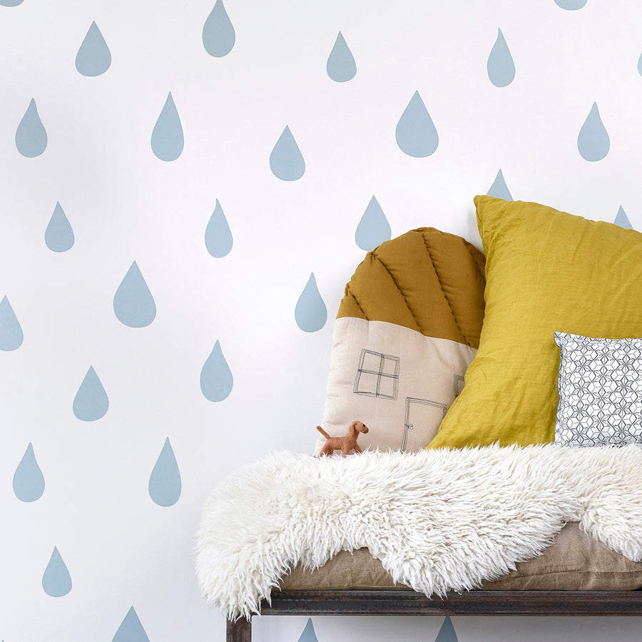 Raindrops Wallpaper Ice Blue by Hibou Home - minifili