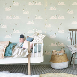 Swans Wallpaper Mint by Hibou Home - minifili