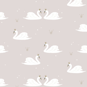 Swans Wallpaper Pale Rose by Hibou Home - minifili