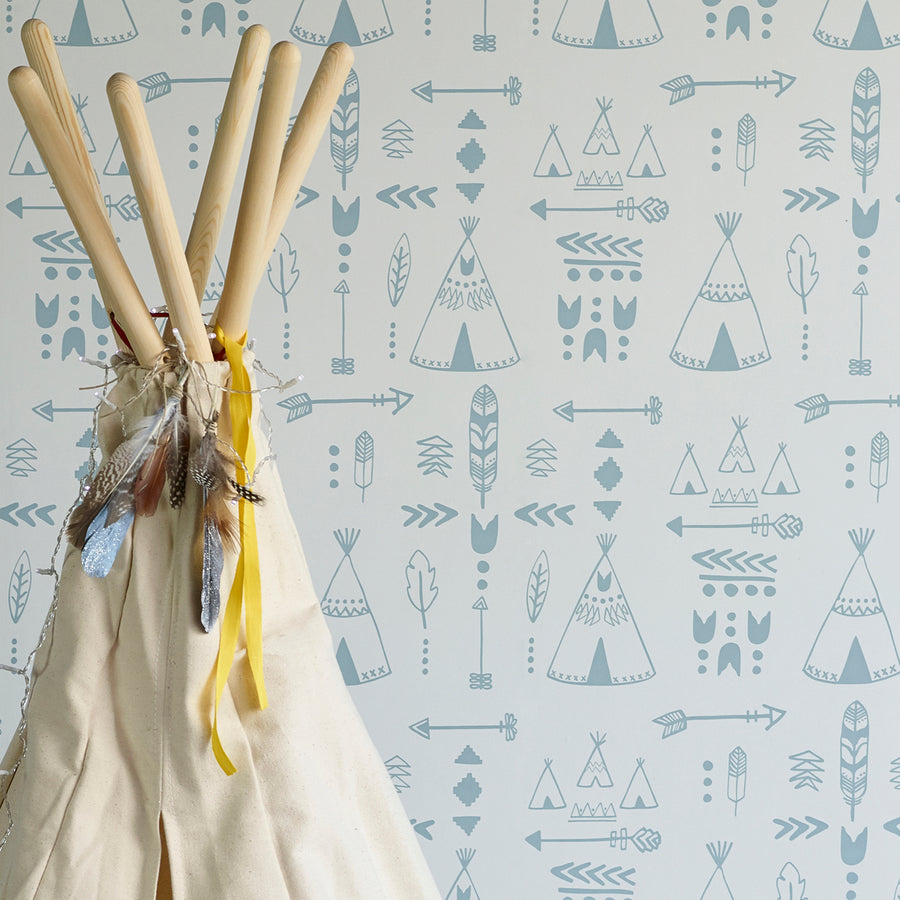 Teepees Wallpaper Storm Green by Hibou Home - minifili