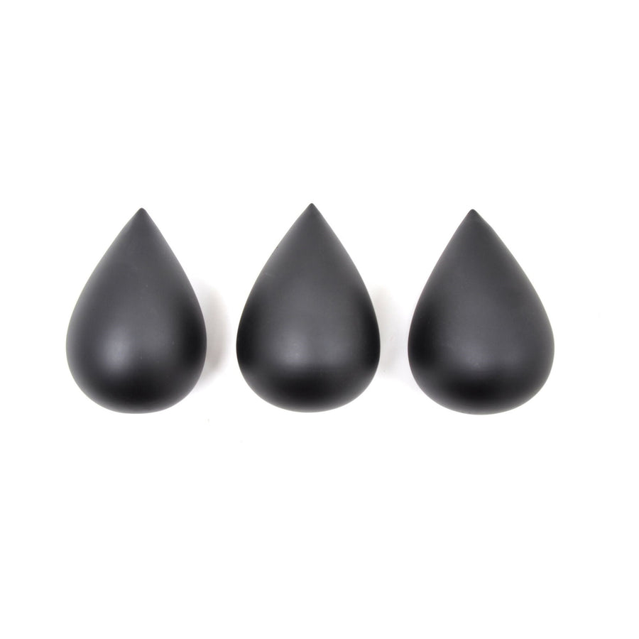 Raindrop Hooks (set of 3) Black by Rose in April - minifili