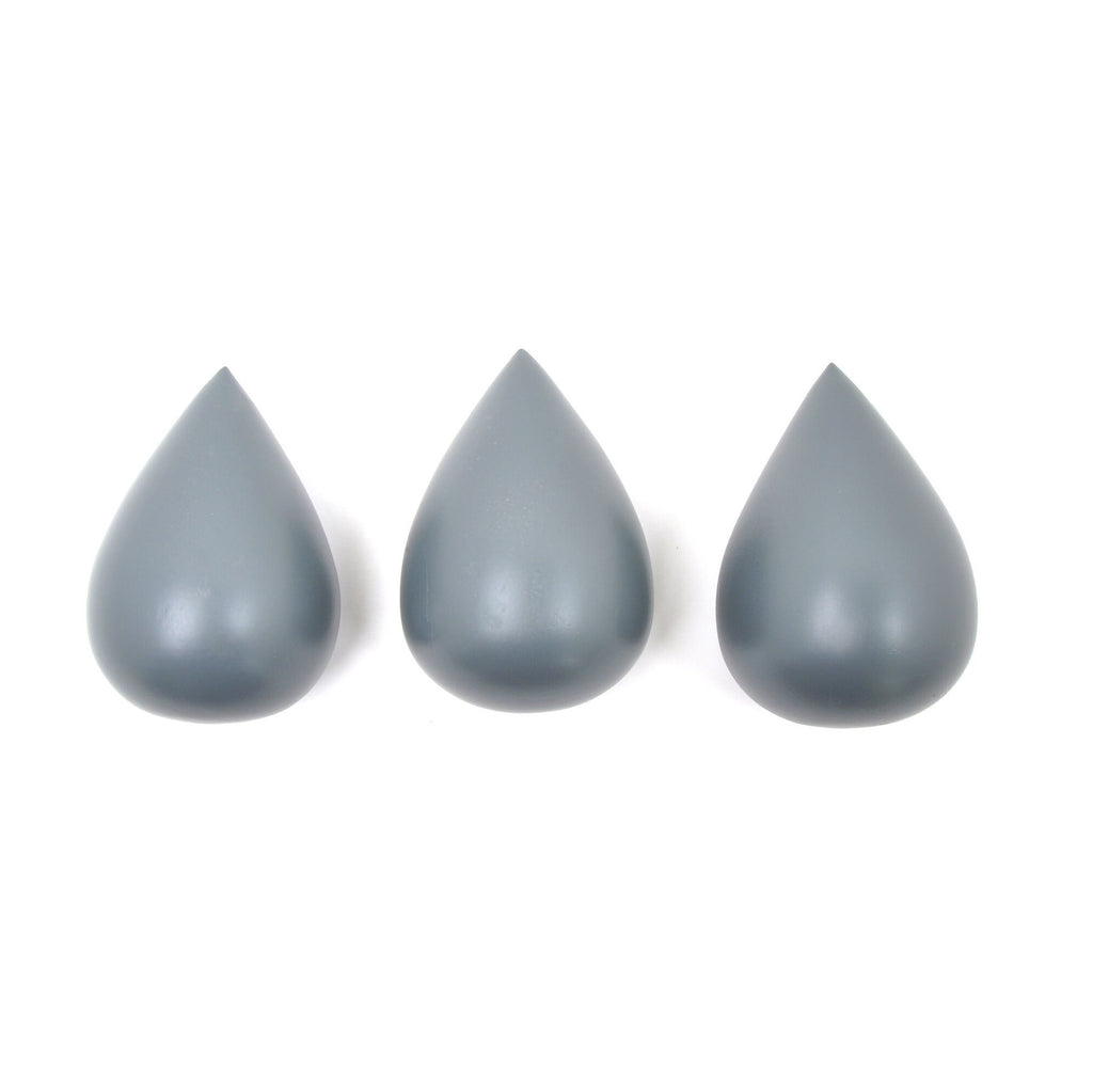 Rose in April - Raindrop Hooks (set of 3) Cement Grey