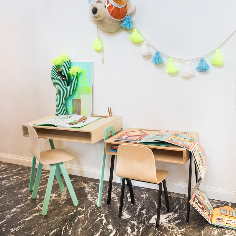Kids Desk & Chair Large Yellow by In2Wood - minifili